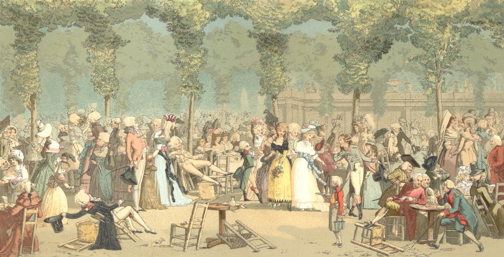 Associate Product 18TH CENTURY FRANCE. Paris. The Palais Royal Garden. Chromolithograph 1876