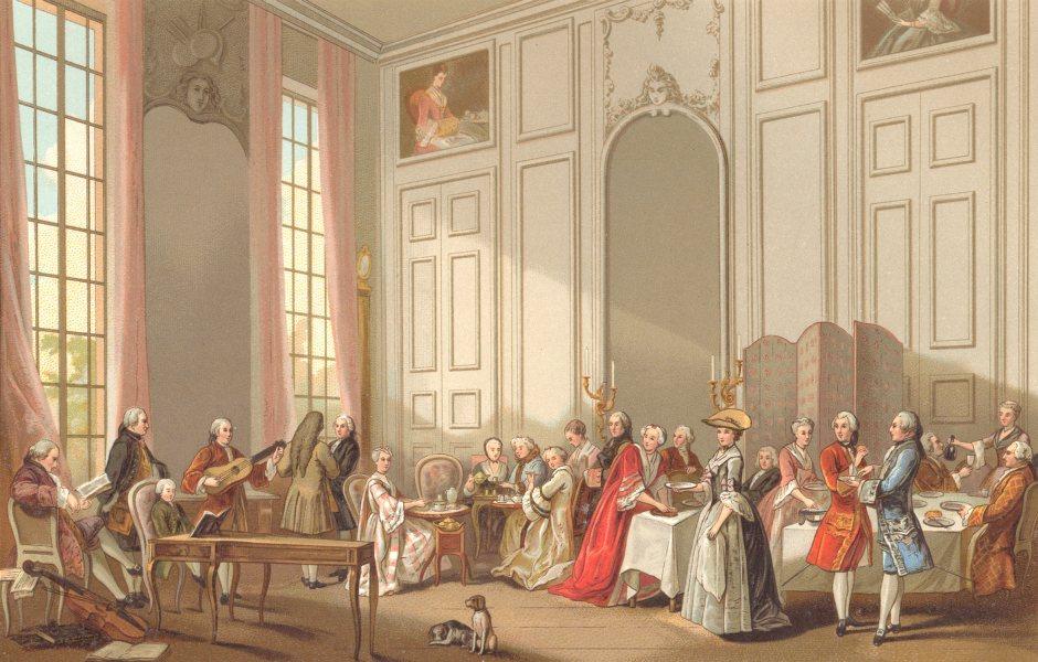 18TH CENTURY FRANCE. Tea a L' Anglaise. Chromolithograph 1876 old print