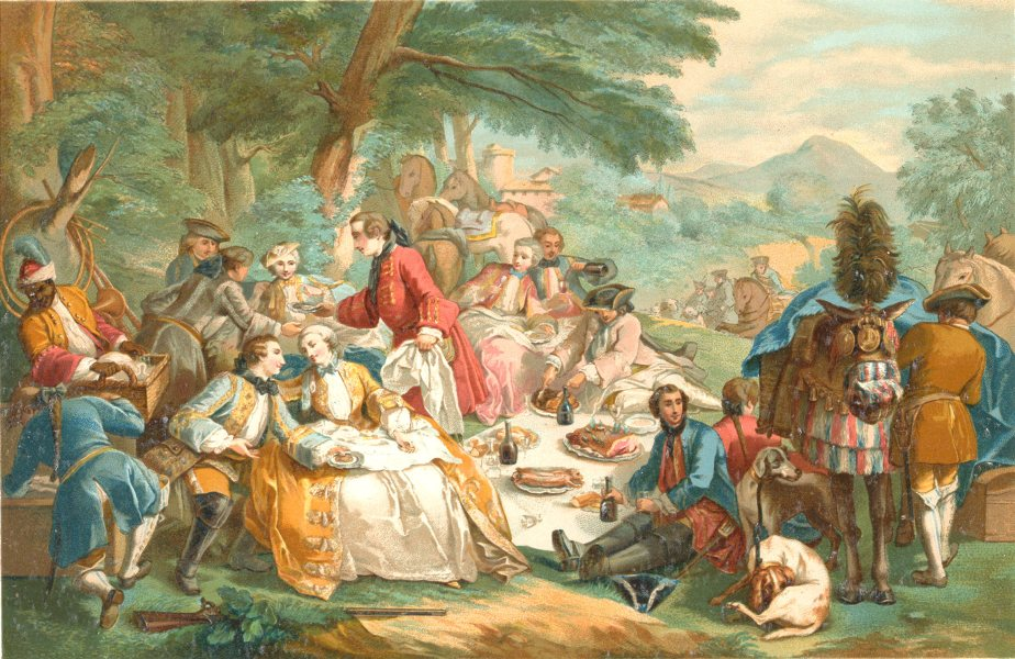 Associate Product 18TH CENTURY FRANCE. A Shooting Party at Lunch. Chromolithograph 1876 print