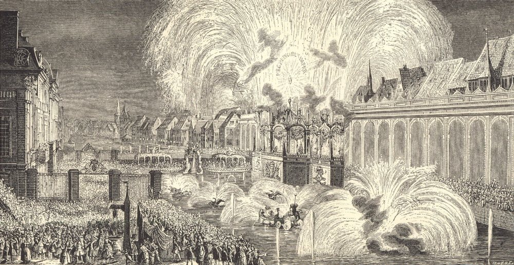 Associate Product 18TH CENTURY FRANCE. Bas-Rhin. Fireworks at Strasbourg in 1744 1876 old print