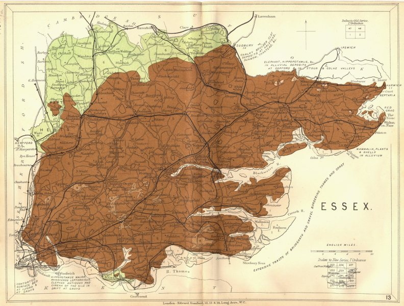 Associate Product ESSEX. Geological map. STANFORD 1880 old antique vintage plan chart