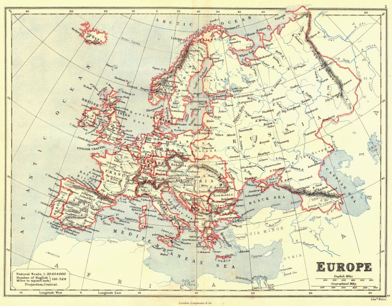 Associate Product EUROPE. Great Powers Austria-Hungary, German/Prussian states. Butler 1888 map
