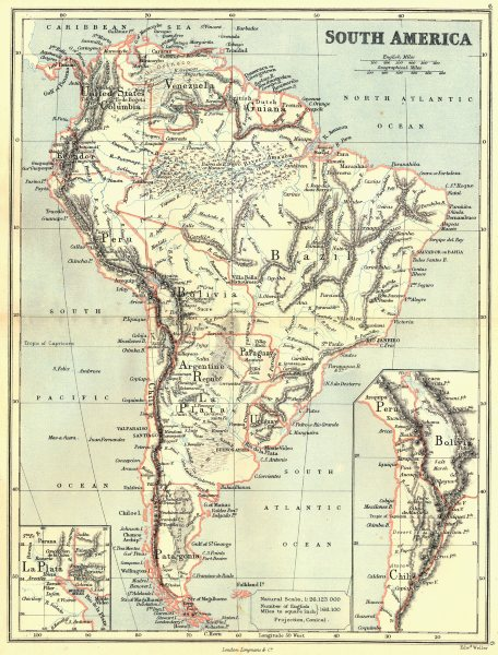 Associate Product SOUTH AMERICA. With United States of Colombia(Colombia & Panama).BUTLER 1888 map