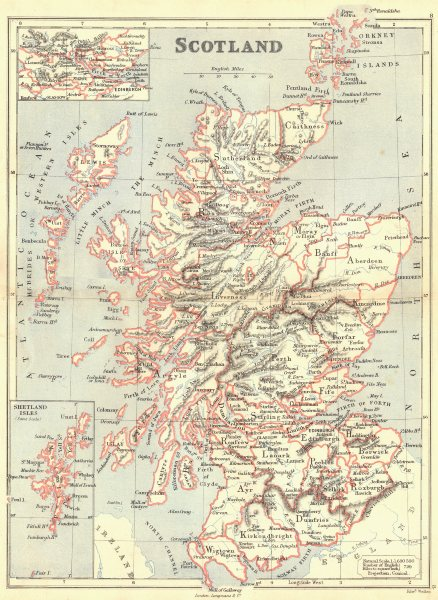 Associate Product SCOTLAND. Showing counties; Inset central belt, Shetland Isles. BUTLER 1888 map