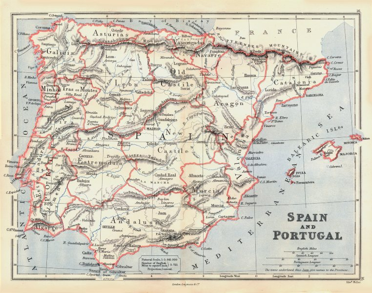 Associate Product IBERIA. Spain and Portugal showing provinces. BUTLER 1888 old antique map