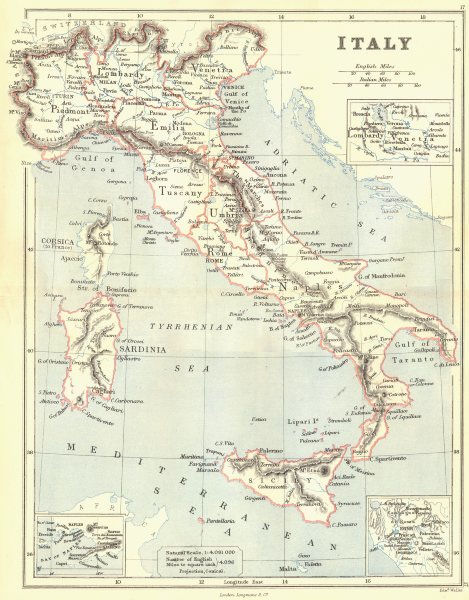 Associate Product ITALY. Unified Italy; Inset Lombardy Venetia Bay of Naples Rome. BUTLER 1888 map