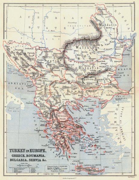 Associate Product TURKEY IN EUROPE.Greece Romania Bulgaria Serbia Bosnia Roumelia.BUTLER 1888 map