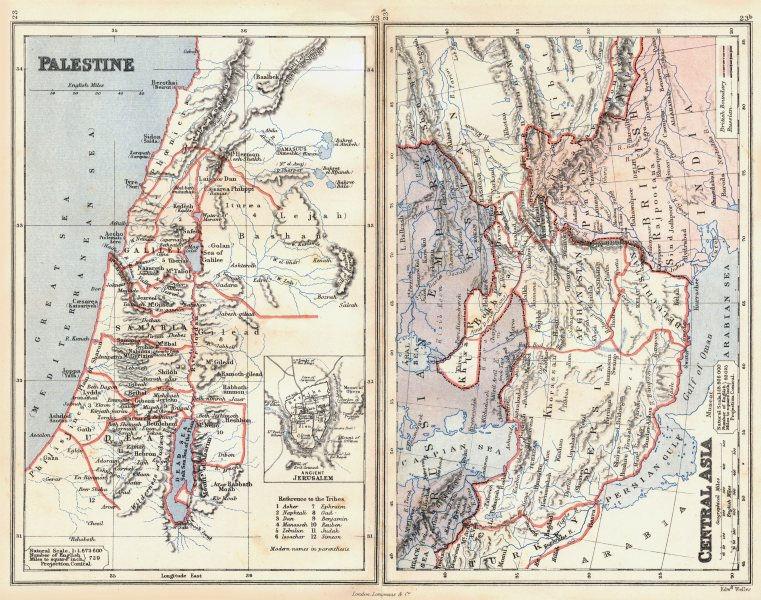 Associate Product PALESTINE & CENTRAL ASIA. Lebanon Beirut. Bukhara Kafiristan. BUTLER 1888 map