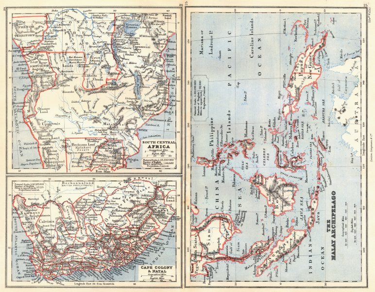 Associate Product SOUTHERN AFRICA & MALAY ARCHIPELAGO. Cape Colony Indonesia &c. BUTLER 1888 map