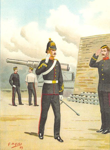 Associate Product BRITISH ARMY UNIFORMS. The Royal Artillery Regiment 1890 old antique print