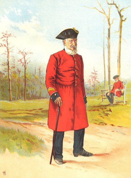 Associate Product BRITISH ARMY UNIFORMS. A Chelsea Pensioner 1890 old antique print picture