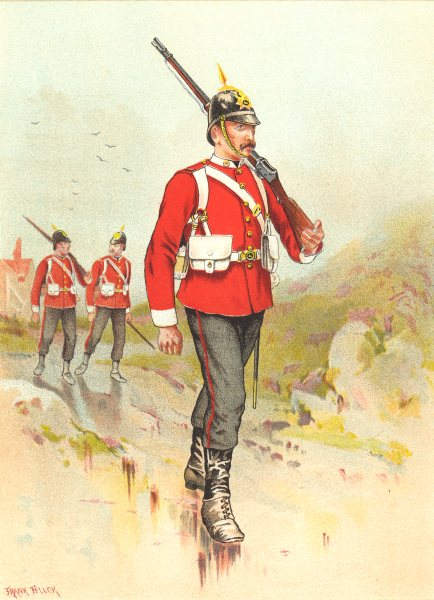Associate Product BRITISH ARMY UNIFORMS. The 30th – East Lancashire Regiment 1890 old print