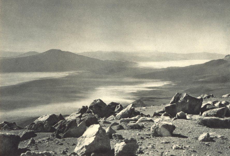 Associate Product CHILE. Volcan Irruputuncu. Vista desde la cumbre hacia Bolivia. Volcano. 1932