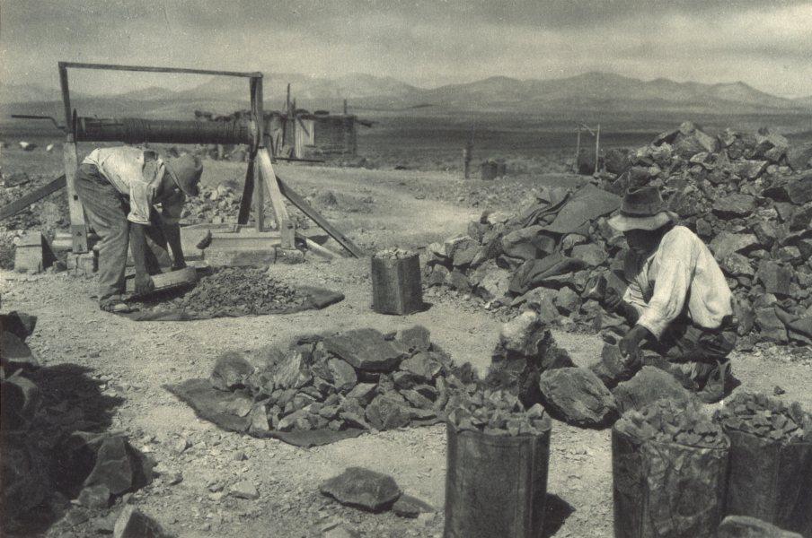 Associate Product CHILE. Mina Mercedita. Cancha de mineral. Mercedita Mine. Minerals 1932 print