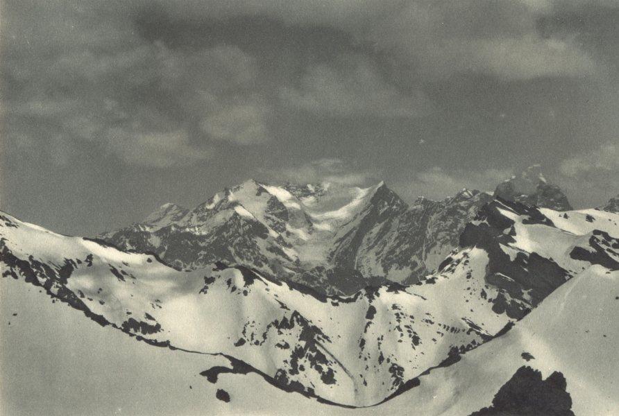 Associate Product CHILE. Nevado los Leones visto desde el Paso Iglesia. Snowy pass Church 1932