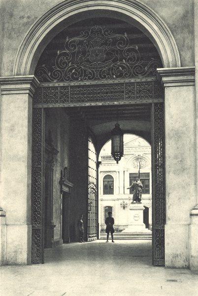 Associate Product CHILE. Santiago. Portada de la Moneda. Central Bank 1932 old vintage print