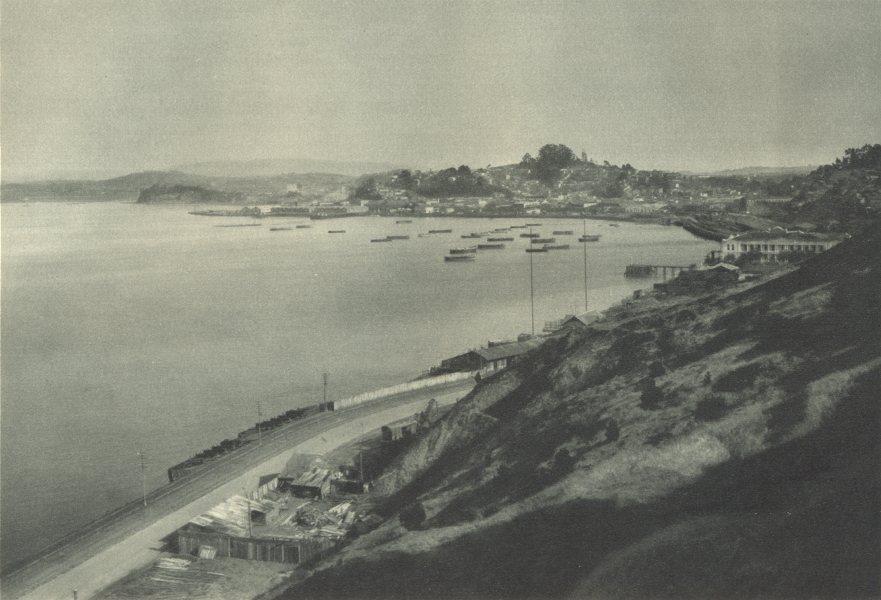 Associate Product CHILE. Talcahuano. Puerto comercial y base naval de la Armada. Port 1932 print
