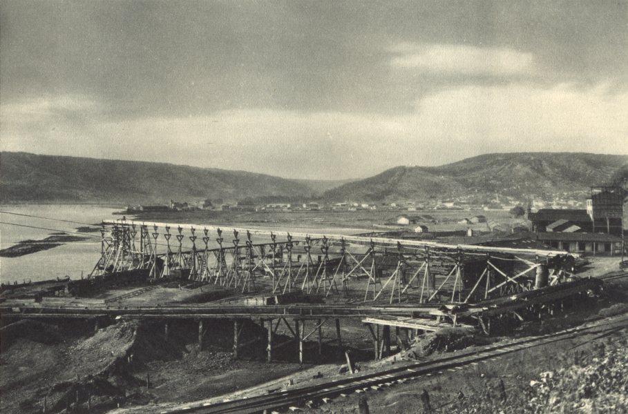 Associate Product CHILE. Lebu. Puerto carbonero con el pueblo al fondo. Coal port 1932 old print