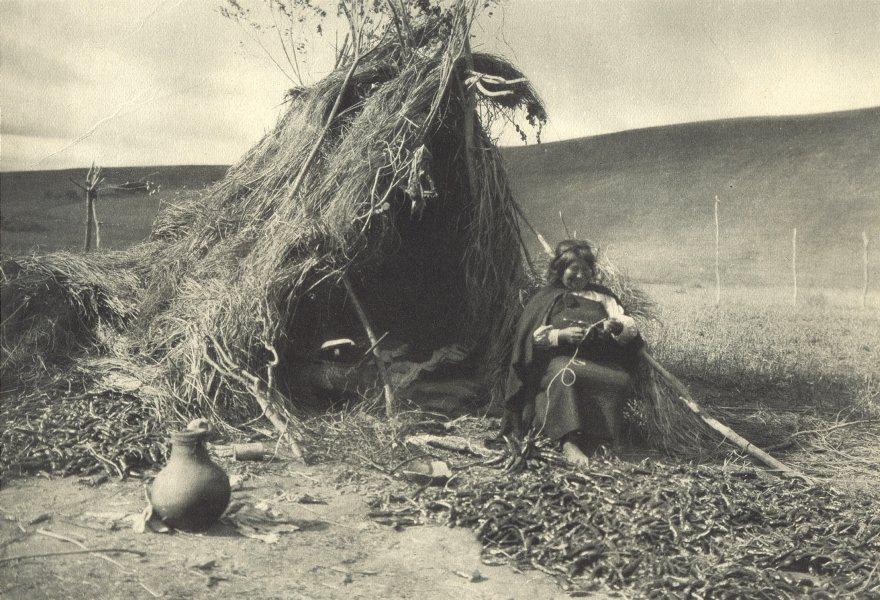 Associate Product CHILE. Lumaco. Mujer Araucana secando ají. Araucana woman drying chilli 1932