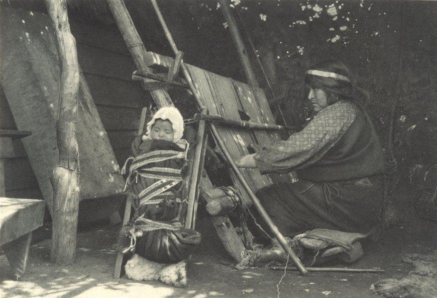 Associate Product CHILE.Puerto Dominguez(Lago Budi).Mujer Araucana el telar.lake.women loom 1932