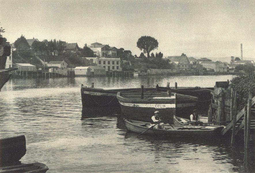 Associate Product CHILE. Valdivia. Rio Valdivia desde la Isla Teja. from Isla Teja 1932 print
