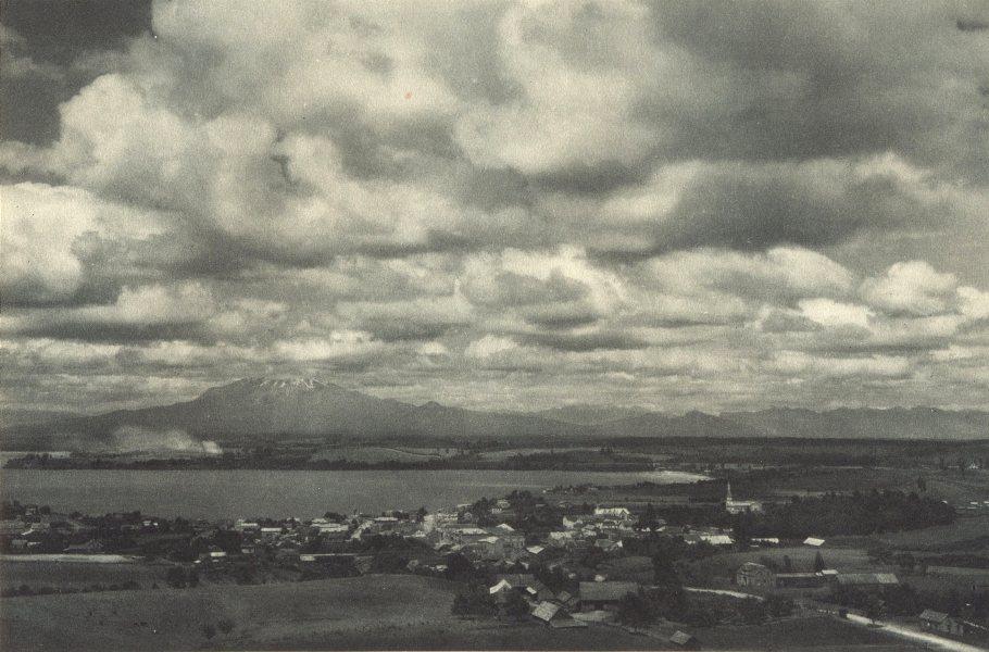 CHILE. Puerto Varas (Lago Llanquihue, Lake Llanquihue) 1932 old vintage print