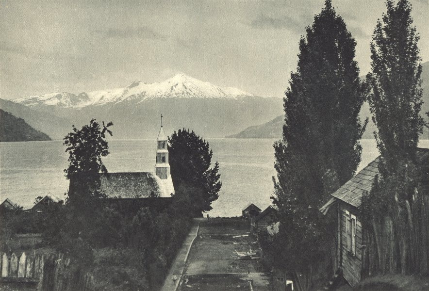 Associate Product CHILE. Cochamó (Seno Reloncaví) . Volcan Yates. Cochamo. Volcano. 1932 print