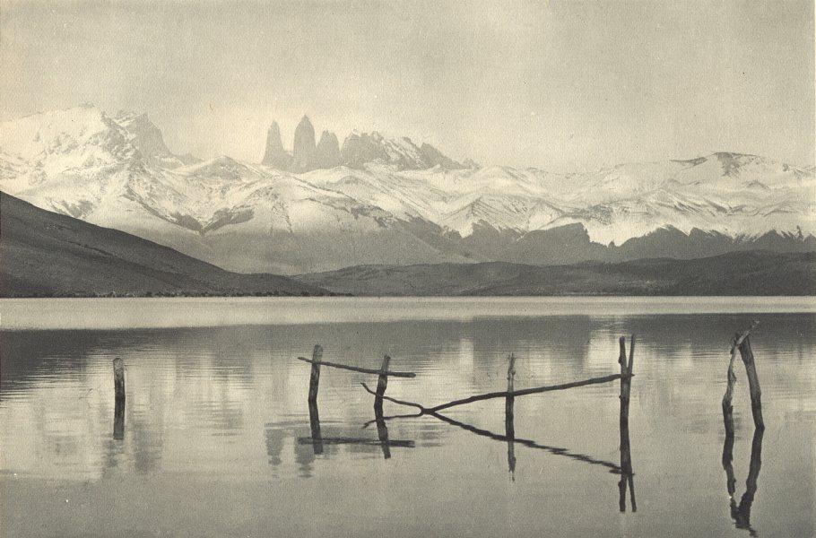 Associate Product CHILEAN PATAGONIA. Laguna Azul y Cordillera Paine. Torres del Paine 1932 print