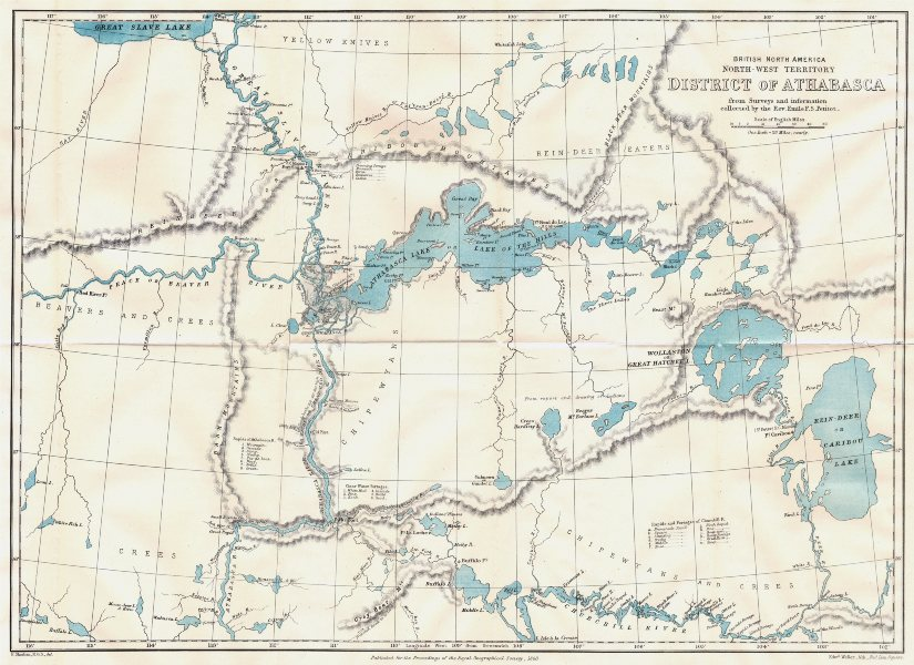 Associate Product ATHABASCA DISTRICT. British North America. Canada. Petitot surveys. RGS 1883 map