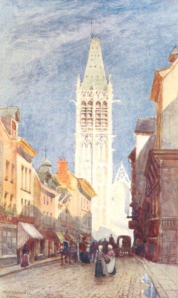 Associate Product SEINE-MARITIME. Rue de I'Horloge. Rouen. Horses. Figures. 1907 old print