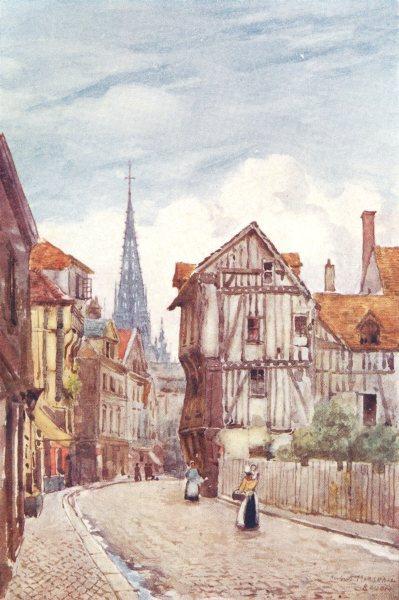 SEINE-MARITIME. Rue St. Romain. Rouen. Figures 1907 old antique print picture