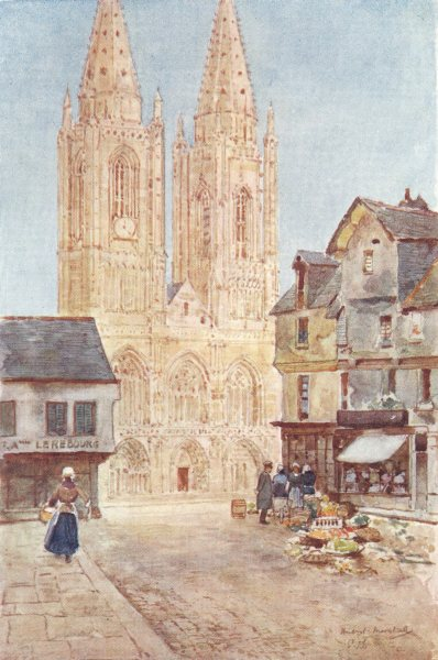 Associate Product MANCHE. The Cathedral Front. St. Lô. Shops. Street market 1907 old print