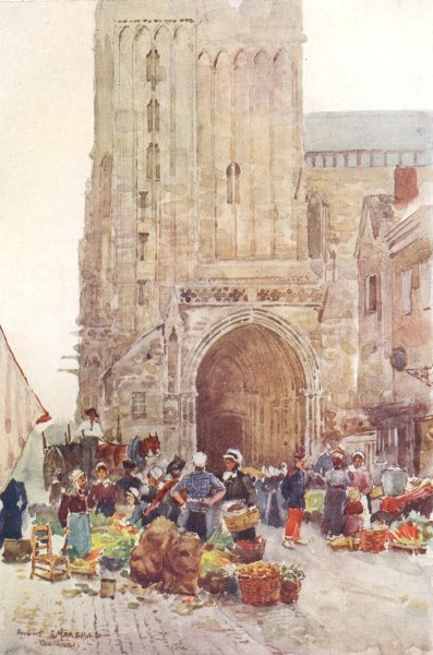 Associate Product MANCHE. The South porch of the Cathedral. Coutances. Street market. 1907 print