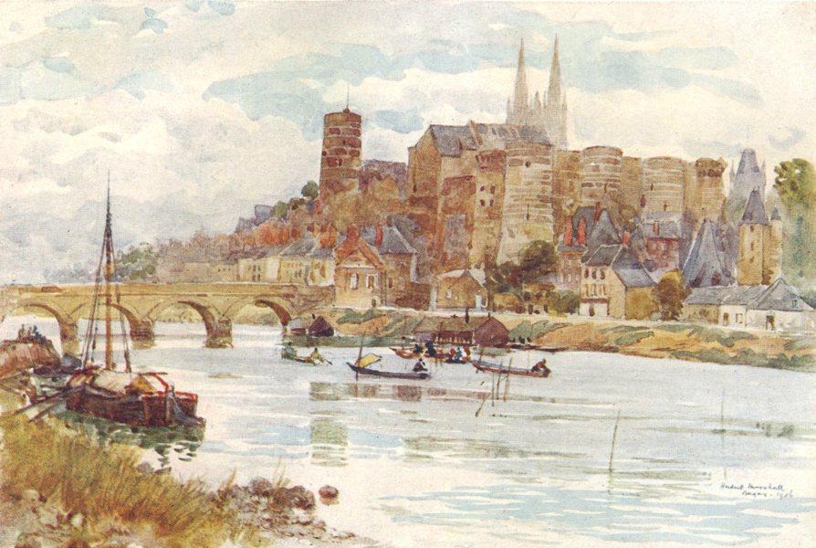 Associate Product MAINE-ET-LOIRE. Angers. River. Boats 1907 old antique vintage print picture