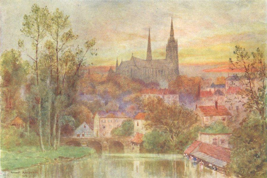 Associate Product EURE-ET-LOIR. Chartres. Bridge. River. 1907 old antique vintage print picture