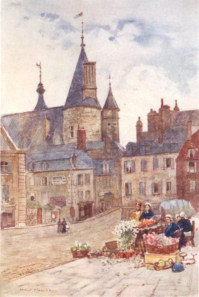 Associate Product NIÈVRE. The Hôtel-de-Ville. Nevers. Flower stall 1907 old antique print