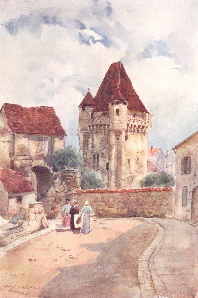 Associate Product NIÈVRE. The Port du Croux. Nevers. Figures 1907 old antique print picture