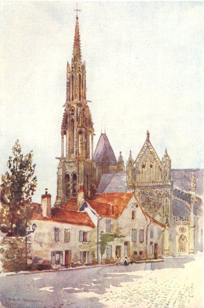 Associate Product SEINE-ET-MARNE. Senlis. Cathedral 1907 old antique vintage print picture