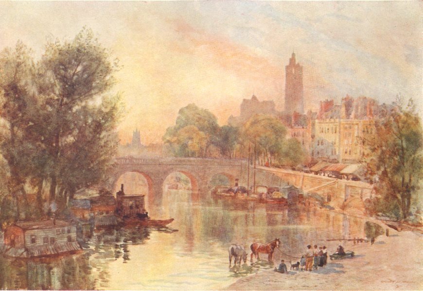 Associate Product PARIS. The Pont Marie. Paris. Houses. Figures. Boats 1907 old antique print