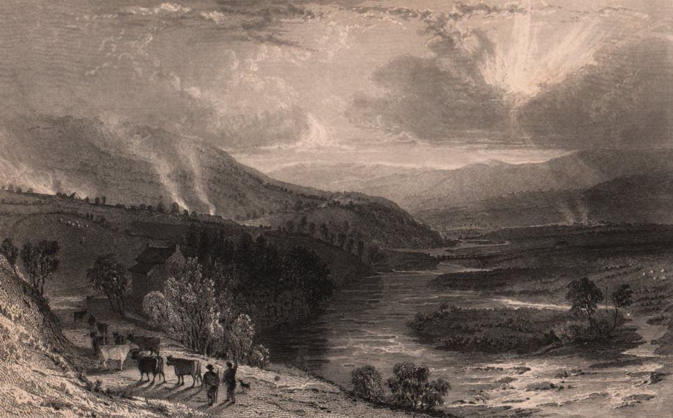 Associate Product COUNTY DURHAM. Teesdale, near Winch Bridge. ALLOM 1839 old antique print