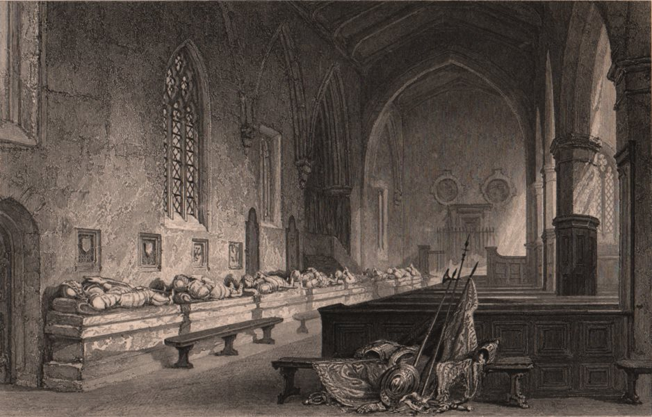 COUNTY DURHAM. Aisle of the Tombs, Chester-le-Street church. ALLOM 1839 print