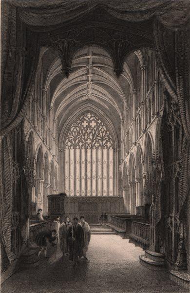 CUMBRIA. Interior of Carlisle Cathedral, Cumberland. ALLOM 1839 old print