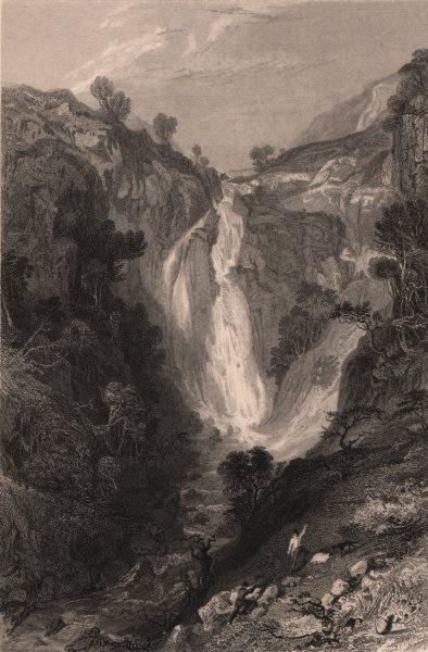 Associate Product LAKE DISTRICT. Waterfall, near Sty Head, Cumberland. Cumbria. ALLOM 1839 print