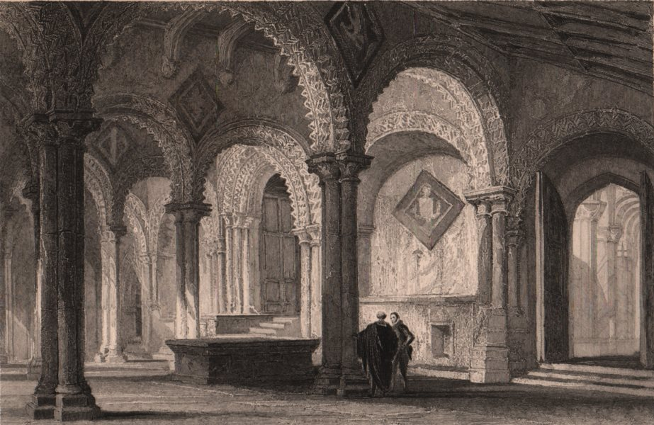 Associate Product COUNTY DURHAM. The Galilee, West end of Durham Cathedral. ALLOM 1839 old print