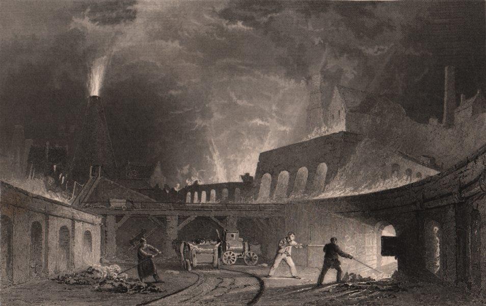 Associate Product NORTH EAST ENGLAND. Lymington Iron works, on the Tyne. ALLOM 1839 old print