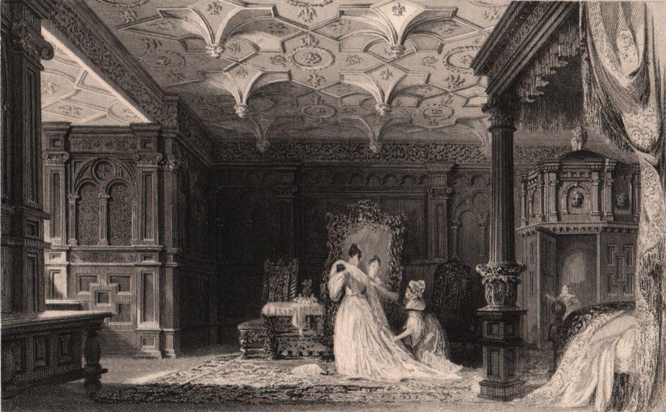 Associate Product WESTMORELAND. Interior of Sizergh Hall, Cumbria. ALLOM 1839 old antique print