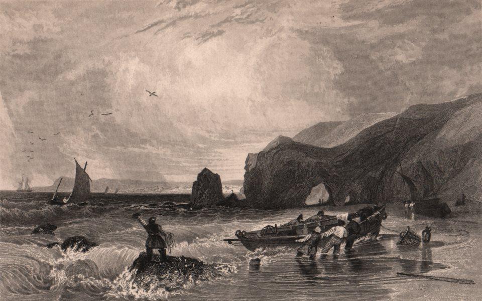 Associate Product COUNTY DURHAM. Blackhall Rocks, Hartlepool in the distance. ALLOM 1839 print