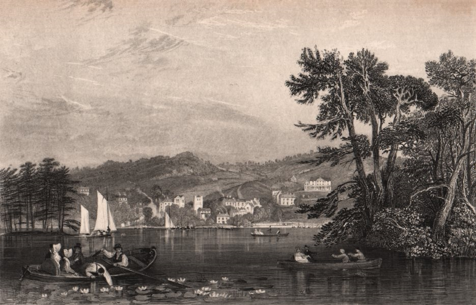 Associate Product LAKE DISTRICT. Bowness, from Belle Isle, Windermere. Cumbria. ALLOM 1839 print