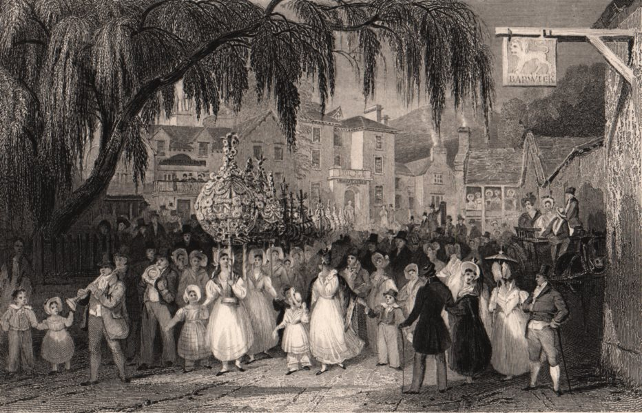 Associate Product LAKE DISTRICT. The Rushbearing at Ambleside, Westmoreland. Cumbria. ALLOM 1839