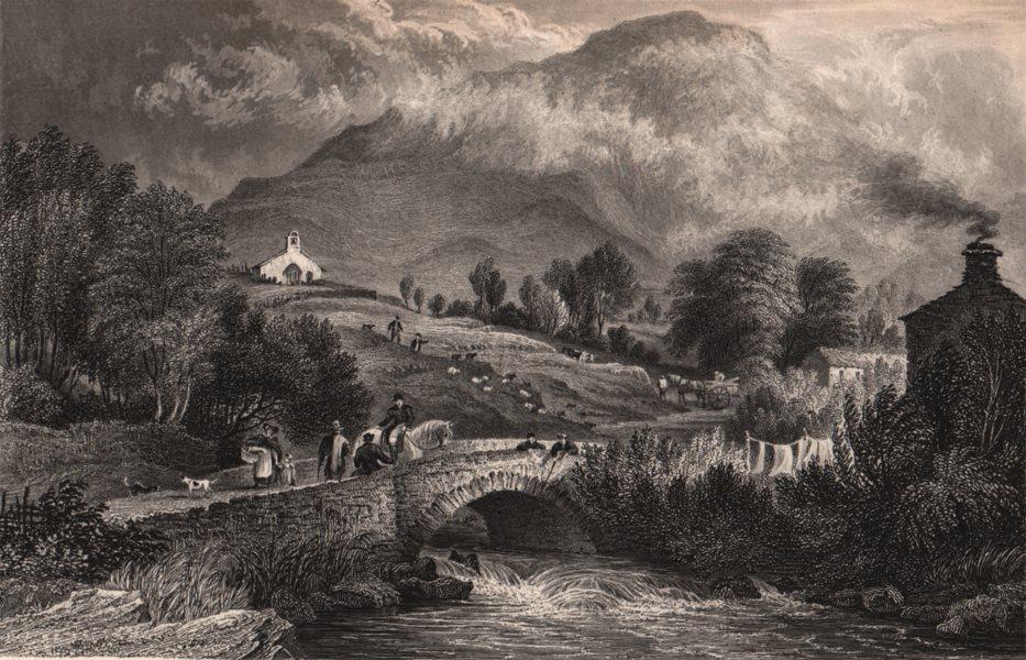 Associate Product LAKE DISTRICT. Mill beck & Buttermere chapel, Cumberland. Cumbria 1839 print